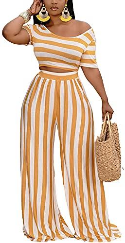 2 Piece Outfits for Women Sexy Backless Short Sleeve Crop Top High Waist Wide Leg Long Pant Sets Tracksuit Sport Set