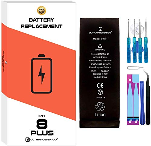 ultrapower100® Batería de reemplazo para iPhone 8 Plus | Original Capacidad | 2020 | Incluye Manual de reparación y Kit Profesional de Juego de Herramientas | Nueva Batería de sustitución | 0 Ciclos
