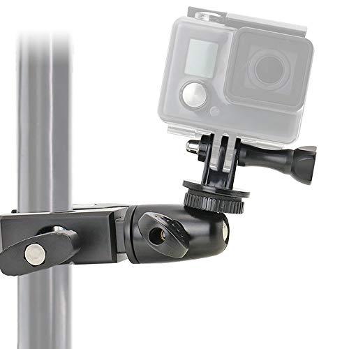 EXSHOW Soporte para GoPro Hero 7 6 5 4, 360° Giratorio Camera Soporte para Bicicleta Motocicleta Bike Moto Manillar (Antideslizante abrazadera + Material aleación)