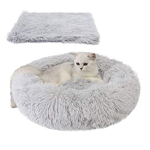 Legendog Bett für Katze,Hundekissen Flauschig Katzenbett Set mit Decke,Rutschfestes und Weiches Rundes Katzen Schlafsofa Katze Schlafen Betten für Katzen und Welpen