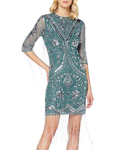 Frock and Frill Damen Karla Embellished Knee Length Dress Formales Abendkleid, Teal, Medium