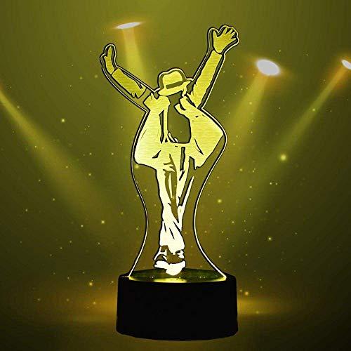 Lámpara de ilusión 3D Luz de noche Led Michael Jackson 7 colores Kid Baby Gift Lámpara de mesa decorativa para dormitorio Michael Jackson Accesorios