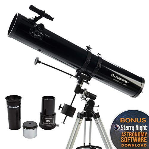 Celestron - PowerSeeker 114EQ Telescope - Manual German Equatorial Telescope for Beginners - Compact and Portable - BONUS Astronomy Software Package - 114mm Aperture