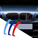 N/H KUNGKIC M-Colored Stripe Grille Insert Trims Compatible with BMW 3 Series E46 1997-2001 10-Beam Accessories