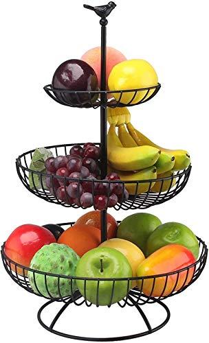 Cesta de Frutas de la Cesta de Frutas Negras de Tres Capas Mantiene su Fruto Hermosa