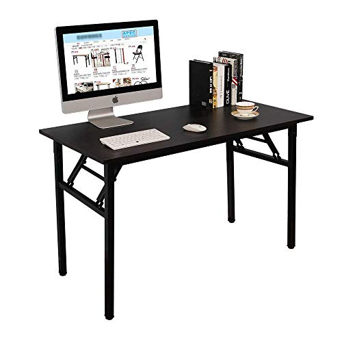 Need Computer Desk Office Desk 47 inches Folding Table with BIFMA Certification Computer Table Workstation No Install Needed, Black Brown