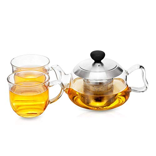 Hoge kwaliteit Gasfornuis Kluis Tea Kettle Glazen Theepot Set met afneembare RVS Infusion Set, ergonomische handgreep, Kit 4 (Size : Kit 4)