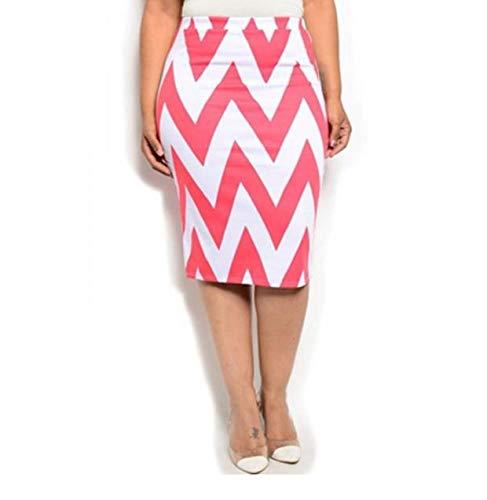 MOA Women's Pencil Skirt Chevron-Print Knee-Length Elastic-Waist (2XL, Light Coral)
