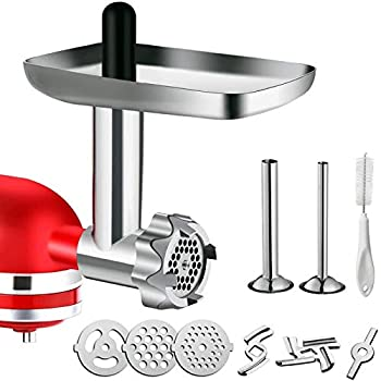 Metal Food Grinder Attachment for KitchenAid Stand Mixers G-TING Meat Grinder Attachment Included 2 Sausage Stuffer Tubes 3 Grinding Blades 3 Grinding Plates