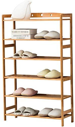 Estante de zapatos Zapatero simples de la casa zapatos de la práctica de zapatos zapatero vertical del dormitorio del gabinete a prueba de polvo de bambú del estante del hogar interiores durables 6 Ca