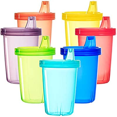 Youngever 7 Pack Kids Sippy Cups, Sippy Cups for Infant, Kids, Toddler, 7 Assorted Color Sippy Cups