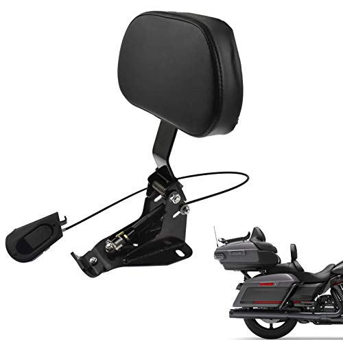 Adjustable Rider Backrest Sissy Bar With Comfortable Pad For Touring Street Glide Road King Road Glide Electra Glide CVO 2009-2020 (Black)