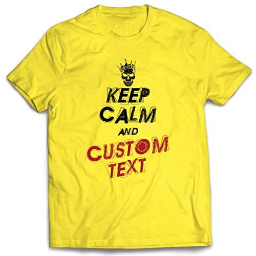 lepni.me Camisetas Hombre Diseño Texto Personalizado Keep Calm Diseña Propio Regalo Novedad (Medium Amarillo Multicolor)