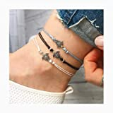 Nynicorny Anklet Bracelets Boho Lovely Sea Turtle Glitter Foot Bracelet Bead Anklets Chain Jewelry Accessories for Women and Girls 3 PCS(Silver Black Gold)…