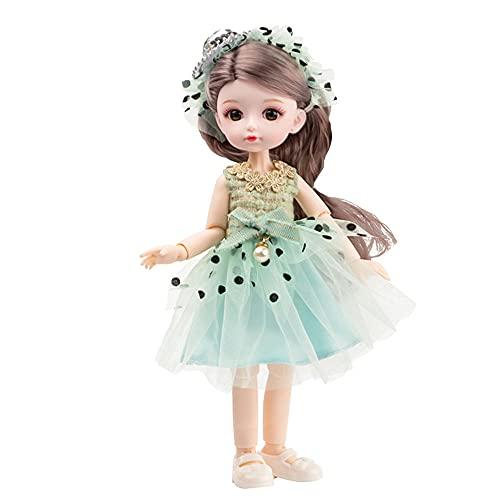 BESTWALED Princesa Muñeca Vestirse Muñeca De Trapo Moda Figuras Niña Jugar A La Casa Muñeca Recoger Figuras De Juguete Niño Adornos Creatividad Año Nuevo Regalo L26CM,Verde