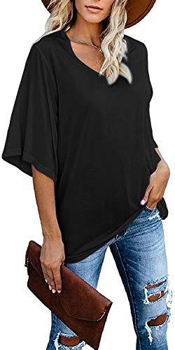 Cindeyar Damen T-Shirt Tops Sommer Kurzarm V Ausschnitt Basic Oberteile Casual Baumwoll Blouse Shirt(A-Schwarz,XL)