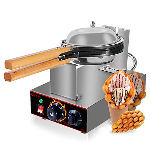 Bubble waffle maker egg waffle machine bubble waffle iron Hong Kong waffle cake with Teflon Non-Stick Professional Electric Bubble Waffle Maker (Stainless Steel)