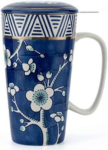 Taimei Teatime Hand Painted Tea Coffee Mug Ceramic Tea Cup with Infuser and Lid 17 fl oz Large product image