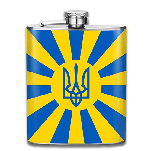 Imperial Ukrainian Flag Outdoor Portable 304 Stainless Steel Leak-Proof Alcohol Whiskey Liquor Wine 7OZ Pot Hip Flask Travel Camping Flagon for Man Woman Flask Great Little Gift