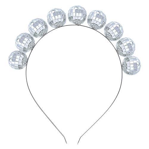 Coucoland Damen 1980s Discokugel Haarrreif Retro 80s Disco Motto Party Stirnband Haarband Damen Fasching Kostüm Accessoires (Silber)