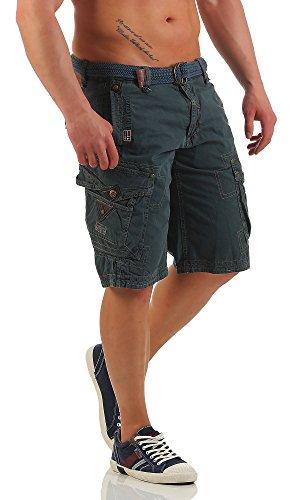 Geographical Norway Bermudas cargo para hombre, pantalones cortos con cinturón parapente azul marino S