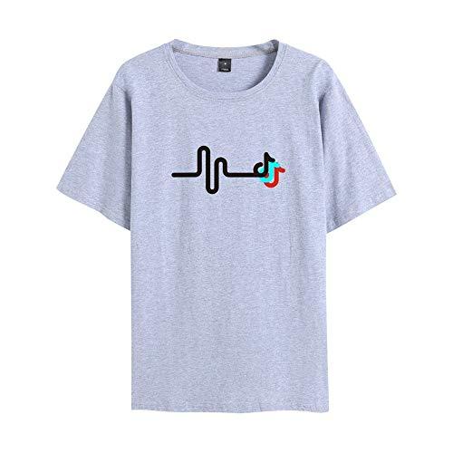 LBTIAN TikTok Unisex Niños suéter de Manga Corta de la Camiseta Ocasional de la Manera del suéter con Capucha for los Aficionados a la música (Color : Gray, Size : XS)