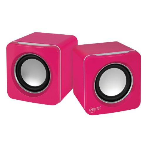 ARCTIC S111 BT - Casse portatili con connessione USB, Mini altoparlanti con alta qualità sonora per PC, desktop o laptop, durata della batteria fino a 12 ore, bassi potenti e design compatto - Rosa