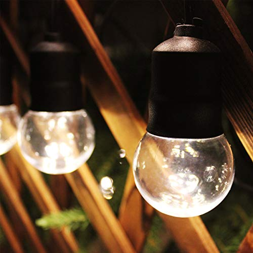 Led Outdoor String Lights, 15 Shatterproof LED Globe Bulb Lights, Low Voltage Output Festoon Lights, Christmas Lights for Wedding Party Garden Patio Cafe (Warm White)
