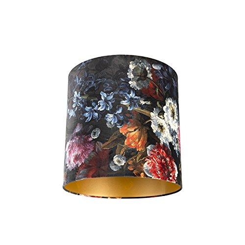 QAZQA Baumwolle Velour Lampenschirm Blumenmuster 40/40/40 Gold/Messingene Innenseite, Rund gerade Schirm Pendelleuchte,Schirm Stehleuchte