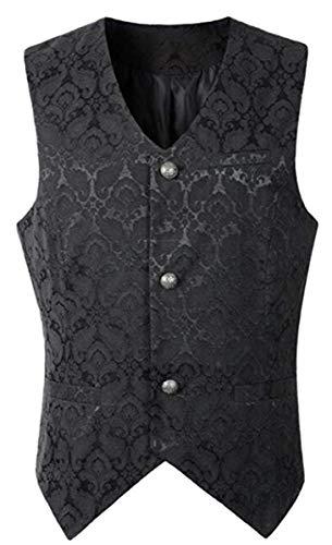 LCXYYY - Chaleco gótico medieval para hombre, estilo retro, gótico, steampunk, uniforme de vampiro, cosplay Negro XL/3XL