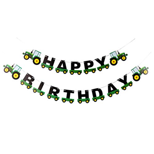 VALICLUD Tractor Birthday Banner Creative Green Birthday Banners Tractor Garland Birthday Party Props for Birthday Party Banquet Decor