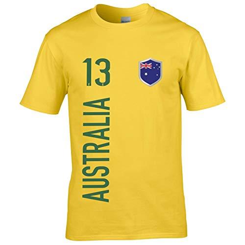FanShirts4u Herren Fan-Shirt Jersey Trikot - AUSTRALIEN/Australia - T-Shirt inkl. Druck Wunschname & Nummer WM (L, Australia/gelb)