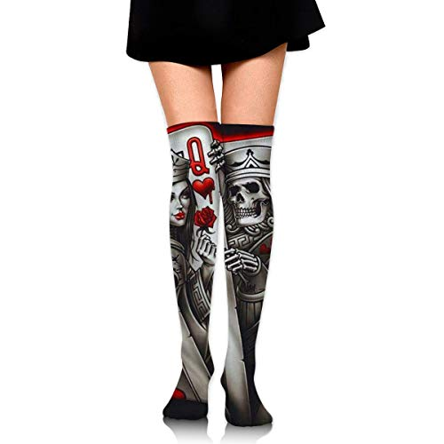 Ljkhas232 Thigh High Socks King-Queen-Ace of Spades Knee High Long Socks Boot High Socks for Women
