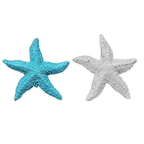 Kekailu Starfish Ornament,2Pcs Fish Tank Ornament Mediterranean Resin Mini Starfish Aquarium Decor Home Decorations,1-3
