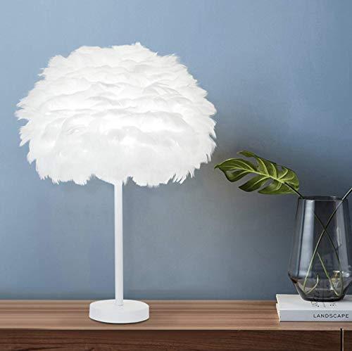 Preisvergleich Produktbild Feder nachttischlampe nachttischlampe lampenschirm moderne mode feder tischleuchte schreibtischlampe schirm für wohnzimmer schlafzimmer bar restaurant hotel dekoration,  weiß