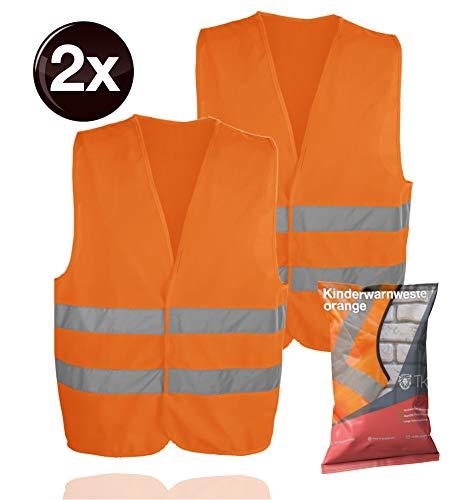 TK Gruppe Timo Klingler Warnweste orange, für Kinder - Jungen & Mädchen - EN471 Pannenweste 2020 Unfallweste icherheitsweste ultrahell & starkreflektierend Schulanfänger (2X)