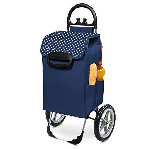 Einkaufstrolley XXL Kiley mit großen Rädern in blau mit 78L - extra großer Einkaufsroller Einkaufshilfe Trolli 50kg belastbar
