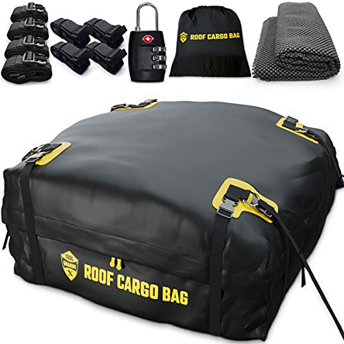 Car Top Carrier Roof Bag - Rooftop Cargo Carrier 15 or 20 Cubic +Protective Mat +Easy to Install