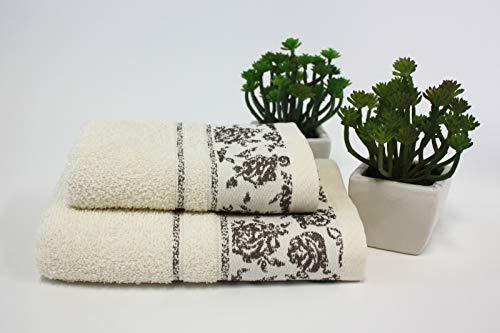 Set 1+1 Asciugamani da bagno Ada con Balza in Jacquard, Viso e Ospite misure: Viso: 50x100 cm. Ospite 38x58 cm. 100% cotone, morbide al tatto. Spugna di alta qualità proveniente da Portogallo.(Panna)