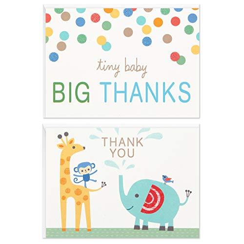 Hallmark Conjunto de cartões de agradecimento para chá de bebê, animais do zoológico (50 cartões com envelopes para bebês meninos ou meninas)