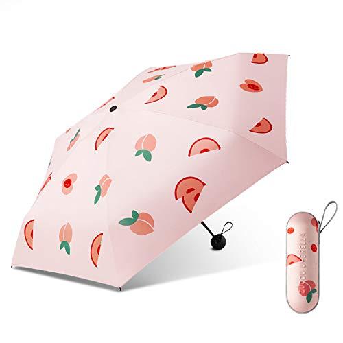 Galatée Protección UV UPF 50+ Mini Paraguas Plegable Paraguas Bloqueador Solar de Doble Capa con 8 Esqueleto de Paraguas (melocotón)