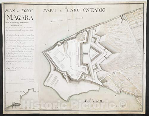 Historical Map, 1761 Plan of Fort Niagara with its Buildings & outworks, Vintage Wall Art : 30in x 24in