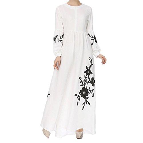 Smileq maxi vestido musulmán de manga larga vintage Sundress casual retro vestido de falda, Informal, color blanco, tamaño small