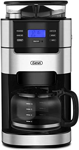 10-Cup Drip Coffee Maker, Grind and Brew Automatic Coffee Machine with Built-In Burr Coffee Grinder, Programmable Timer Mode and Keep Warm Plate, 1.5L Large Capacity Water Tank, Removable Filter Basket, 1025W, Black