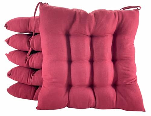 TIENDA EURASIA® Pack 6 Cojines para Sillas de Terraza - Funda de 100% Loneta Lavable y Relleno de Fibra Hueca Siliconada Acolchada - 40 x 40 x 5 cm (Granate)
