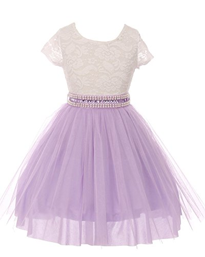 iGirlDress Big Girls Sleeves Lace Tulle Flower Girls Dresses 8 Ivory/Lavender