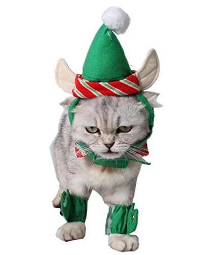 ANIAC Cute Cat Dog Christmas Costume Xmas Clothes Green Elf...