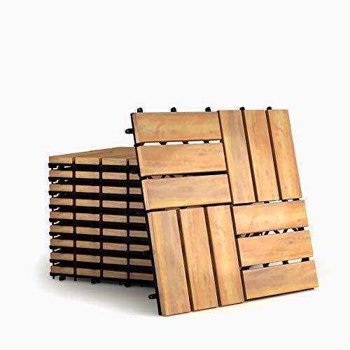 COSTWAY Baldosas de Madera de 30x30cm Juego de 10 Piezas Suelo de Madera para Exteriro Terraza Jardín Patio