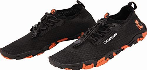 Cressi Molokai, Shoes Scarpette Sportive per Ogni Tipo di Sport Estivo/Acquatico con Suola Antiscivolo ad Alto Coefficiente d'Attrito Unisex Adulto, Nero/Arancio, 43 EU