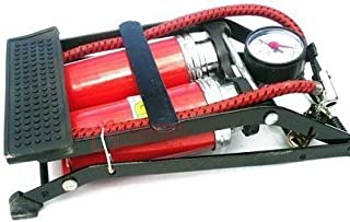 Mart Foot Air Pump Heavy Compressor Cylinder Bike,Car,Cycles All Other Vehicles Air Pump,Double Barrel (Red Color)